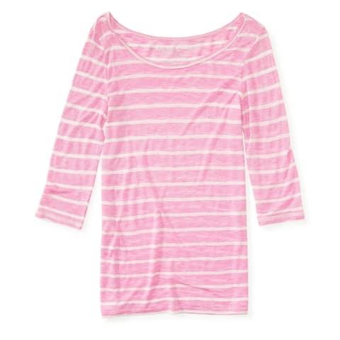 Aeropostale Womens Sheer Striped Graphic T-Shirt