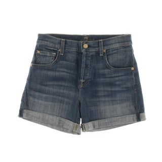 7 For All Mankind Womens Relaxed Cuffed Denim Shorts