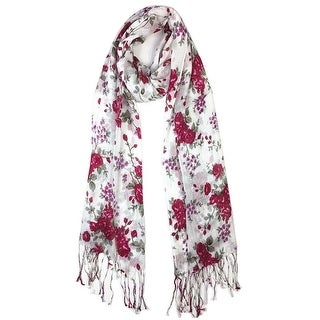 Women's Fashion Floral Soft Wraps Scarves - F1 HotPink - Large
