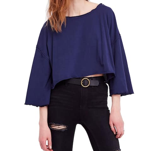 We The Free Blue Women's Size Large L Ruffle Cropped T-Shirt