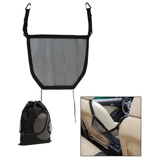 JAVOedge Black Car Storage Between Seat Hanging Arm Rest Net with Bonus Multi Purpose Storage Drawstring Bag