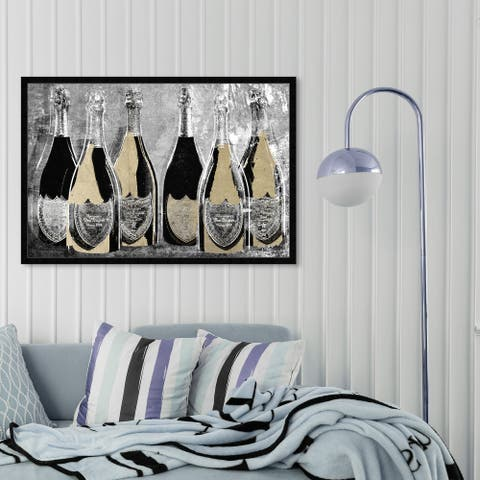 Oliver Gal 'Dom Party Glam' Drinks and Spirits Wall Art Framed Print Champagne - Gold, Black