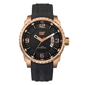 CATERPILLAR Mossville Rose Gold Black Rubber Strap Watch