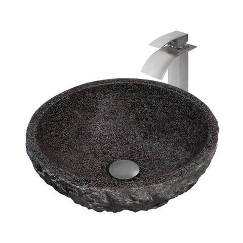 Novatto Absolute Natural Granite Stone Vessel Sink Set, Brushed Nickel
