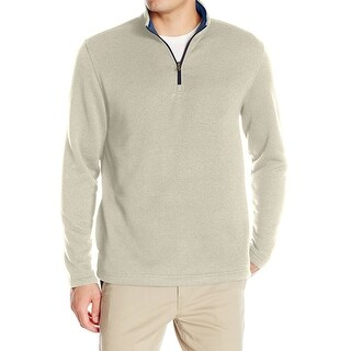 IZOD NEW Beige Mens Size Large L 1/2 Zip Textured Soft-Touch Sweater