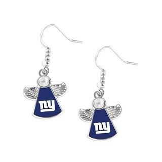New York Giants NFL Crystal Angel Wings Dangle logo Earring Charm Gift Set