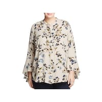 Vince Camuto Womens Plus Timeless Bouquet Blouse Flare Sleeves Floral Print