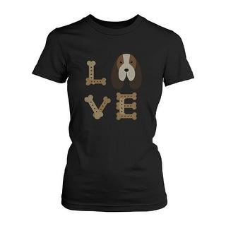 Basset Hound LOVE Women's T-shirt Cute Tee for Dog Owner Puppy Print Shirt