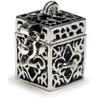 Antique Silver Fleur De Lis - Prayer Box Metal Charm 1/Pkg
