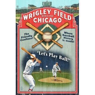 Chicago, Illinois - Wrigley Field Vintage Sign - Lantern Press Artwork (Poker Playing Cards Deck)