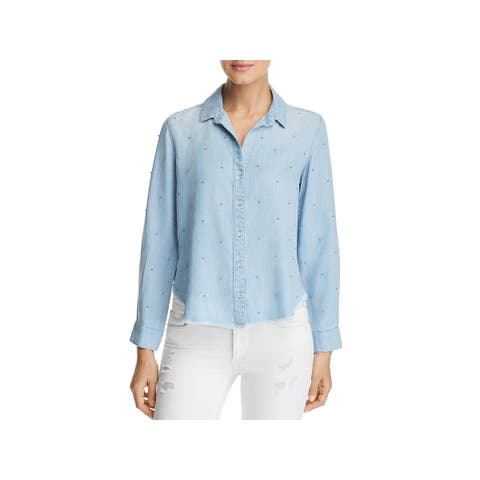 Bella Dahl Womens Button-Down Top Tencel Embellished - M