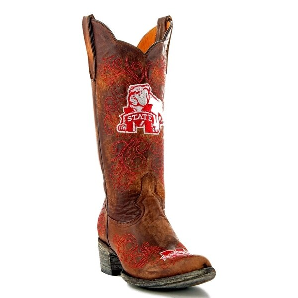 Gameday Boots Womens College Team Mississippi Bulldog Brass