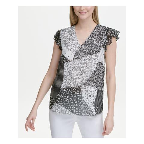 CALVIN KLEIN Womens Black Patterned Cap Sleeve V Neck Top Size XL