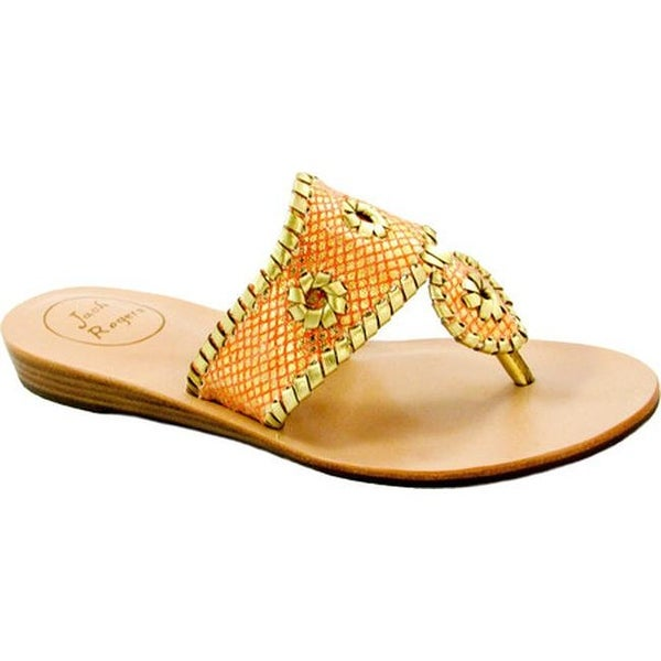 7fd68e46ee4 Jack Rogers Women  x27 s Capri Sandal Fire Coral Gold Sparkle Leather