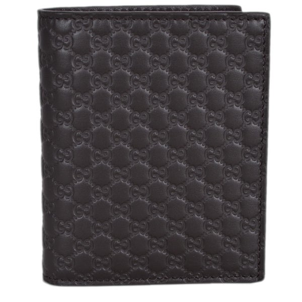 4af187e74d3 Gucci 292533 Men  x27 s Brown Leather Micro GG Guccissima Vertical Bifold  Wallet -