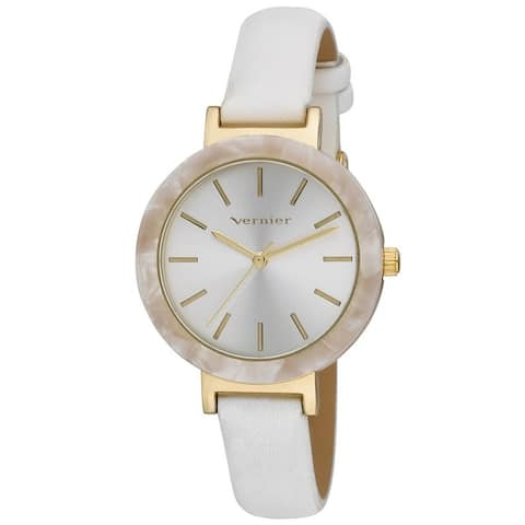 Vernier Womens Resin Bezel Sunray Dial Strap Watch - One Size