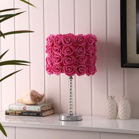 """18.25"""" in Floral Roses Acrylic/ Metal Table Lamp"""