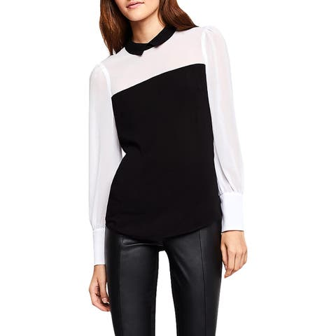 BCBGeneration Womens Blouse Colorblock Puff Sleeve