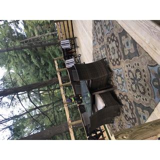 Seaside Chocolate Panel Indoor Outdoor Rug 10 0 X 14 0