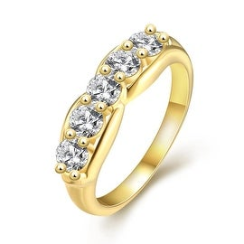 Petite Wedding Gold Ring with Jewels Influx