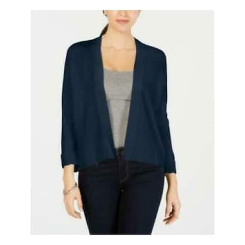 CHARTER CLUB Womens Navy 3/4 Sleeve Open Cardigan Top Size M