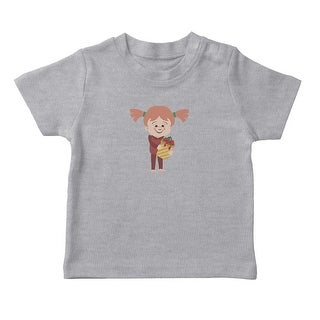 Christmas Girl With Present Graphic Girl's Heather Grey T-shirt (5 options available)
