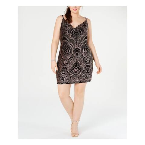 JUMP Womens Black Spaghetti Strap Mini Body Con Party Dress Size 1X