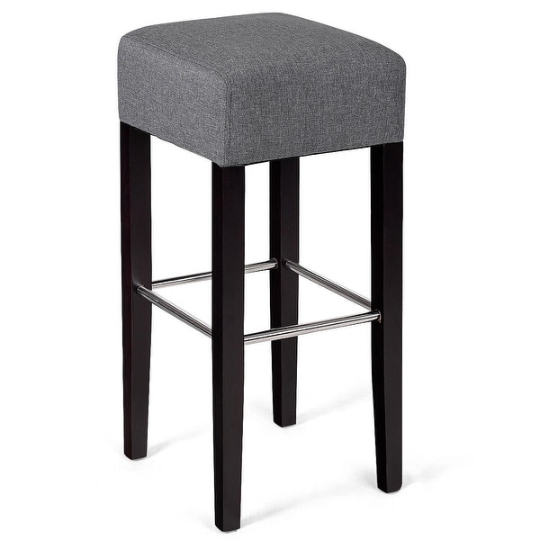 Shop Gymax 1 Pc Backless Bar Stool Fabric Seat Rubber Wood