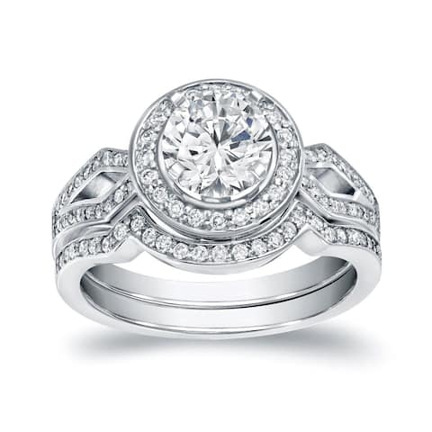 Auriya 14k Gold 1 2/5ctw Modern Split-shank Diamond Halo Engagement Ring Set