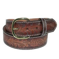 Aquarius Men's Big & Tall Tooled Western Bridle Belt