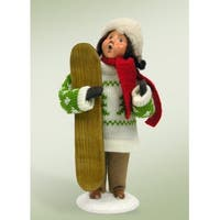 "10"" Snowfall Valley Girl with Snowboard Christmas Table Top Decoration"