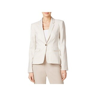Calvin Klein Womens One-Button Blazer Striped Long Sleeves
