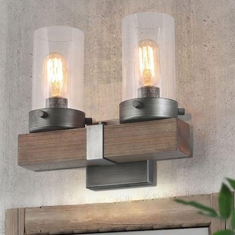 "Havenside Home Farmhouse 2-light Wood Vanity Lights Wall Sconces - L11.8"" x W5.9"" x H10.6"""