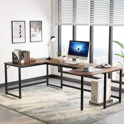 Large L-Shaped Desk, U Shaped Home Office Desk with Printer Stand