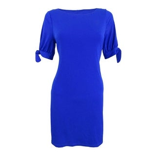 Jessica Howard Women's Petite Tie-Sleeve A-Line Dress - ROYAL
