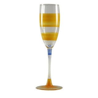 Set of 2 Orange Retro Stripe Hand Painted Champagne Drinking Glasses - 5.75 Oz.