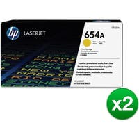 HP 654A Yellow Original LaserJet Toner Cartridge (CF332A)(2-Pack)