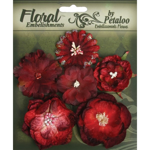 "Botanica Mixed Blooms 1.5"" - 2.25"" 6/Pkg-Red & Burgundy - Red"