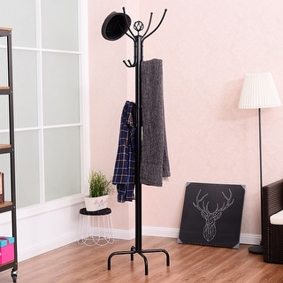 Costway Metal Coat Rack Jacket Stand Tree Umbrella Holder Hanger Marble Base W/12 Hooks