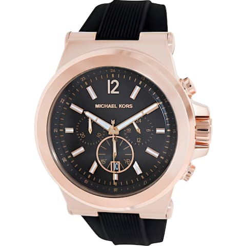 c16ec90ced5a Michael Kors Men s Dylan Rose Gold Rubber Quartz Dress Watch