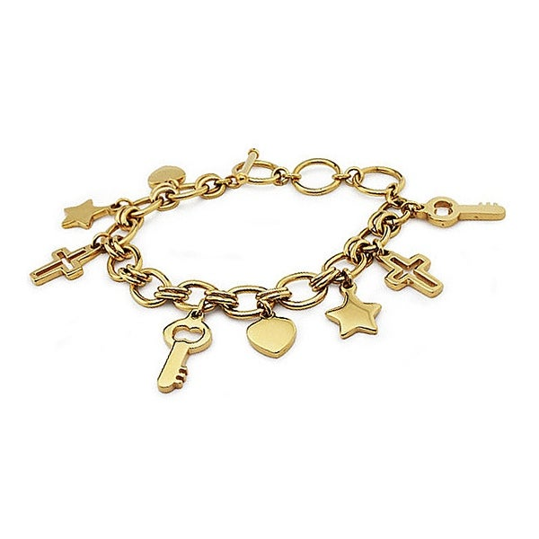 Gold Plated Stainless Steel Charm Bracelet 7.5 Inches to 9 Inches