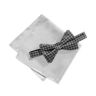 Alfani Gray Men's One Size Leonard Grid Bow Tie & Pocket Square Set