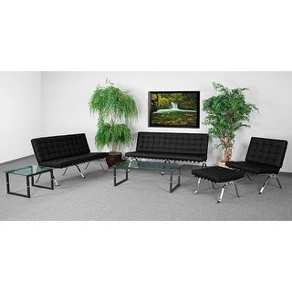 "Chancellor ""Gina"" Black Leather Sofa Set, 4pcs"