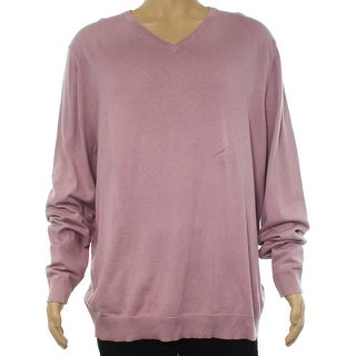 Alfani Pink Mens Size Medium M Slim Fit V-Neck Mauve Shadow Sweater