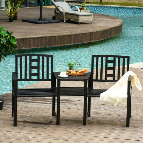 Outsunny Outdoor Double Tete-a-Tete Patio Lounge Chair with Center Coffee Table, Steel Frame & Elegant Appearance, Black
