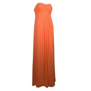 Aqua Women's Metallic Detailed Cutout Empire Dress - coral orange