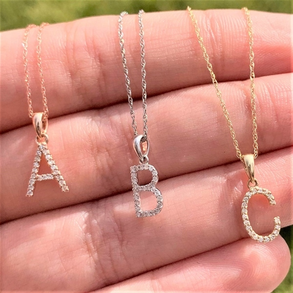 "Diamond Initial Letter Necklace 14k Gold 16"" Chain 1/10 TDW by Joelle Collection. Opens flyout."