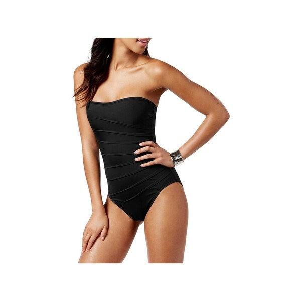 c1edf67406e Shop Calvin Klein Womens Convertible Pleated One-Piece Swimsuit ...