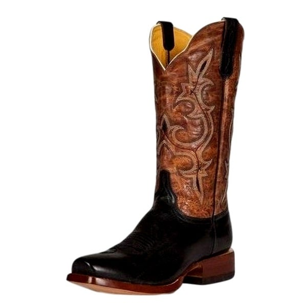 Cinch Western Boots Mens Embroidery Scallop Square Toe Black