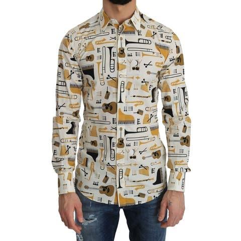 White Cotton GOLD Slim Print Men's Shirt - 38